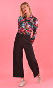 Pantalon Fred Serie B Noir, black trousers, wide, ankle length, stretch, side zip, urban chic, french style.
