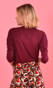 Top Brahms plain jersey Choco brown, fluid, cowl neck, loose armhole, 3/4 sleeves. Urban chic, French designer.