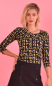 Top Pénélope printed Percussions, jersey top, glamorous, fitted, draped neckline front, manches sleeves, sixties. Fashion, urban