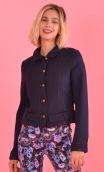 Blouson Johnny navy blue . Plain knit jacket, topstitching, collar and cuffs, sport chic, urban , french style, Paris.