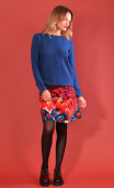 Skirt Mirabelle in Diabolique bleu print, trapeze, just above the knee, urban chic, french style, Paris.