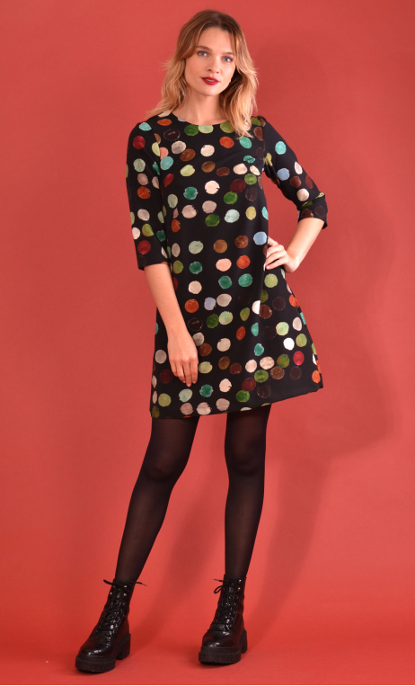 Robe Jess Printed Balles Trap, stretch dress, trapeze skirt, above the knee, 3/4 sleeve.